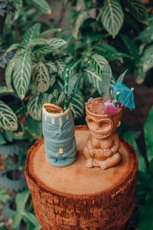 A pair of craft-made tiki cocktails from Jungle Bird Tiki, a pop-up concept in south Cape Coral