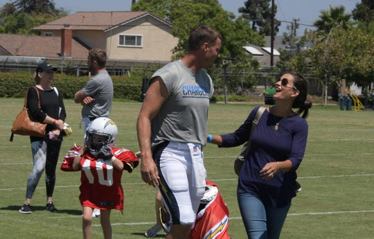 Philip Rivers with wife Tiffany Rivers during his practice witht he Los Angeles Chargers in Costa Mesa, California, on Aug 17, 2017.