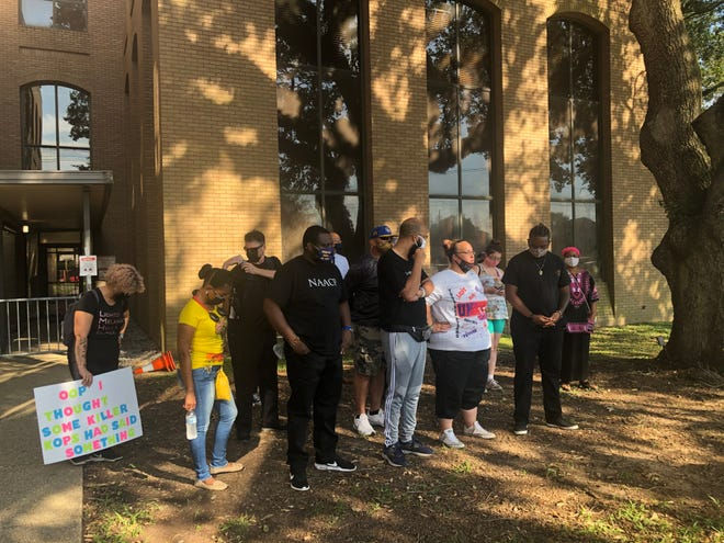 A group of Lafayette's protest leaders gather outside the Lafayette Police Department headquarters for a press conference on Monday, Sept. 7, 2020.
