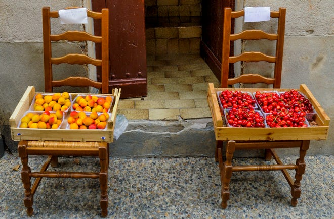 Apricots at a pop-up mini store in Saint Quentin la Poterie, France.