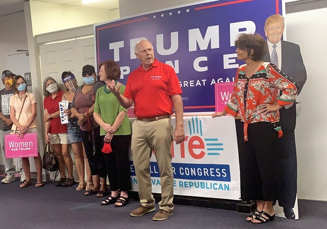 New Mexico GOP Chairman Steve Pearce, center, speaks during a Women for Trump rally Monday, Sept. 7, 2020, at the Doña Ana County Republican office in Las Cruces. Yvette Herrell, right, a candidate for New Mexico's second congressional district, also spoke.