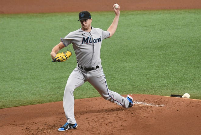 Sep 6, 2020; St. Petersburg, Florida, USA; Miami Marlins pitcher Trevor Rogers (95) throws a pitch in the first inning against the Tampa Bay Rays at Tropicana Field. Rogers set career highs for innings pitched (6), total pitches (100) and strikeouts in a game (10).