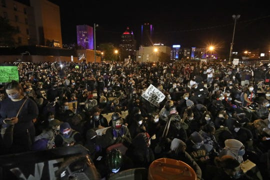 Thousands of Black Live Matters protesters fill Exchange Blvd. in front of the Public Safety Building during a peaceful Black Lives Matter protest held Sunday night, Sept. 5, 2020 in downtown Rochester.