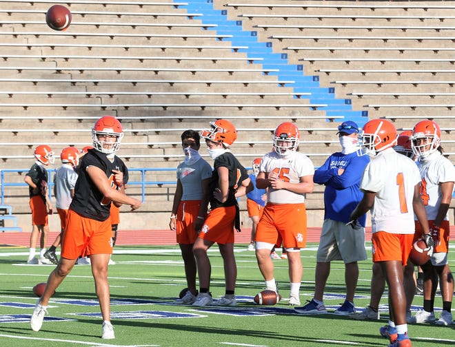 San Angelo Central High School senior quarterback Malachi Brown throws a pass on the first day of fall workouts at San Angelo Stadium on Monday, Sept. 7, 2020. Brown is a third-year starter for the Bobcats.
