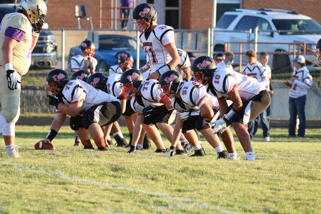 The Dell Rapids offense with Austin Henry at quarterback lines up against Flandreau on Friday, Sept. 4, 2020.