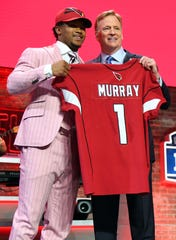 NFL commissioner Roger Goodell at the 2019 draft with Oklahoma QB Kyler Murray, who was taken No. 1 overall by the Arizona Cardinals