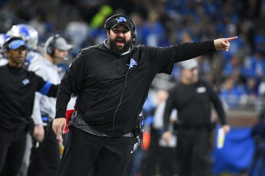 Detroit Lions head coach Matt Patricia reacts during the first half against the Chicago Bears at Ford Field.