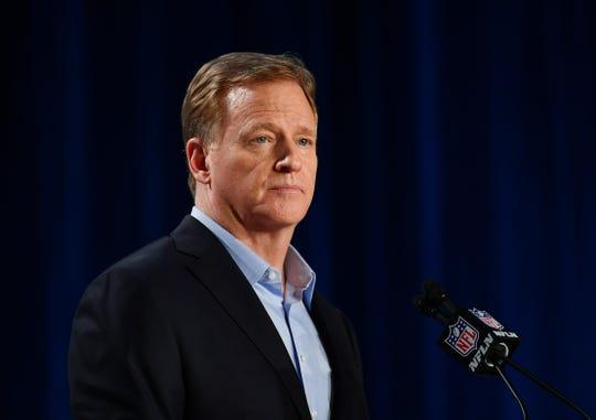NFL commissioner Roger Goodell during a press conference before Super Bowl LIV.