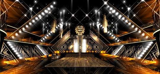 Here is an artist's rendering of the redesigned 'Dancing with the Stars' ballroom, featuring an elongated judges' desk to allow for social distancing and LED screens added in the spaces where audience members typically sit.