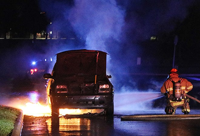 The Ashland Fire Department and Ashland Police Department respond early Tuesday morning to a vehicle fire at Amberwood Parkway.
