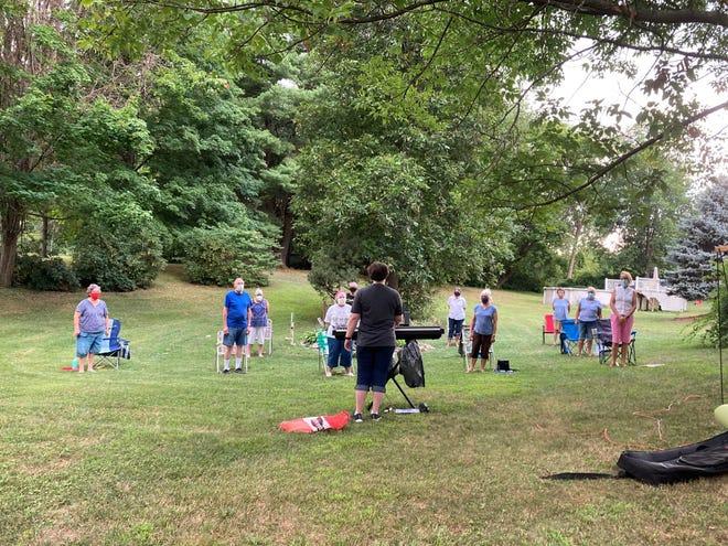 The Penn Yan Community Chorus at their first COVID-safe, outdoor rehearsal.