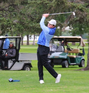UMC golfer Connor Humble tees off during the Ernotte Hiller Memorial Tournament last September. Humble tied for 19th at the Washburn Invitational this week.