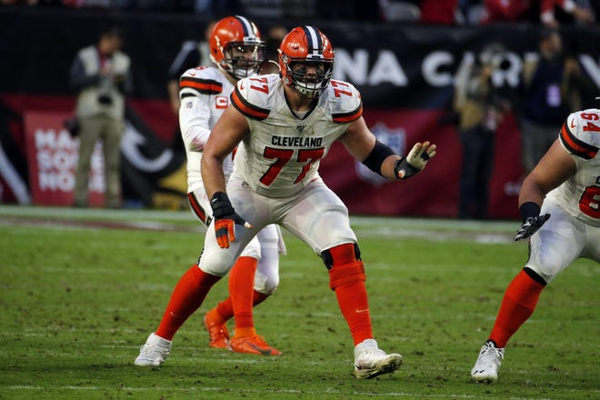 Cleveland Browns offensive guard Wyatt Teller (77) during an NFL football game against the Arizona Cardinals, Sunday, Dec. 15, 2019, in Glendale, Ariz.