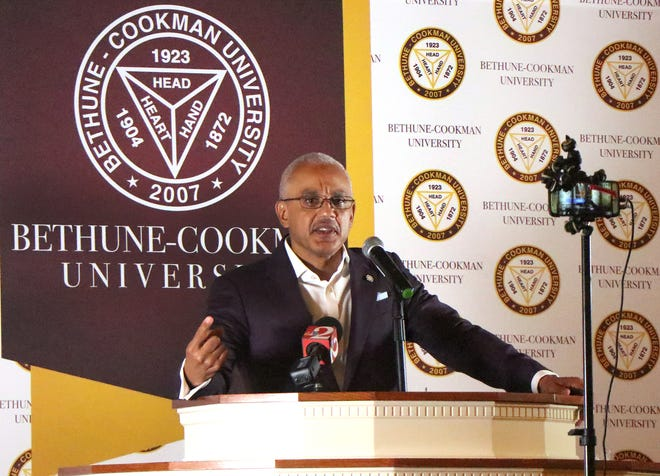 Bethune-Cookman University President Brent Chrite says the SACSCOC decision to take his school off probation is a testament to God's grace, hard work and the help of others. He celebrated the determination in a speech to faculty, staff and students Tuesday in the G.H. Heyn Memorial Chapel at White Hall on the Daytona Beach campus.