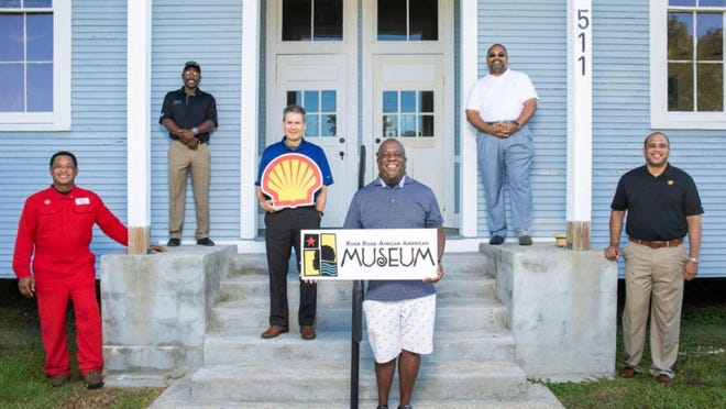 Pictured from left are Shell Convent Operator and RRAAM Board Member Tyrone Smith, RRAAM Board Member Emanuel Mitchell, Shell Convent General Manager Allen Pertuit, RRAAM Executive Director Darryl Hambrick, RRAAM Board President Todd L. Sterling, Shell Vice President U.S. Gulf Coast Rhoman Hardy.