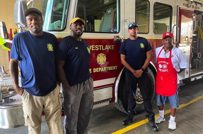 A crew from Ascension Fire District 1 in Geismar prepared 200 fried catfish dinners Sept. 4 for the first responders at Westlake Fire Department. The Geismar firefighters who traveled to the area for the dinner were, from left; Captain Moe Scott, firefighter Ryan Jones, Lieutenant Arrington Beasley, and Fire Chief Nat Stephens.