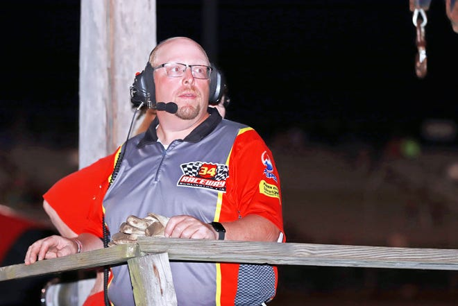 Burlington native Jerry Bliesener, a former track champion, helps at 34 Raceway driving a wrecker every Saturday night during the season.