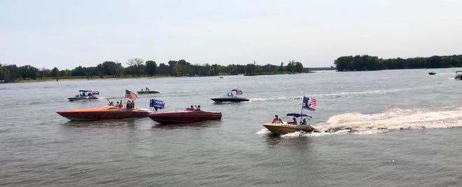 A Muscatine Trump 2020 Boat Parade is shown on Sept. 5 on the Mississippi River near Muscatine.