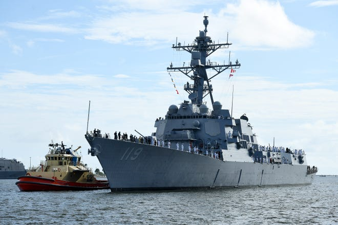 The soon-to-be-commissioned USS Delbert D. Black destroyer, with a crew of more than 300, made its first stop at its new home-port, Naval Station Mayport on Sept. 8. The ship will be commissioned on Sept. 26 at Port Canaveral, then will join Naval Surface Squadron 14 at Mayport.