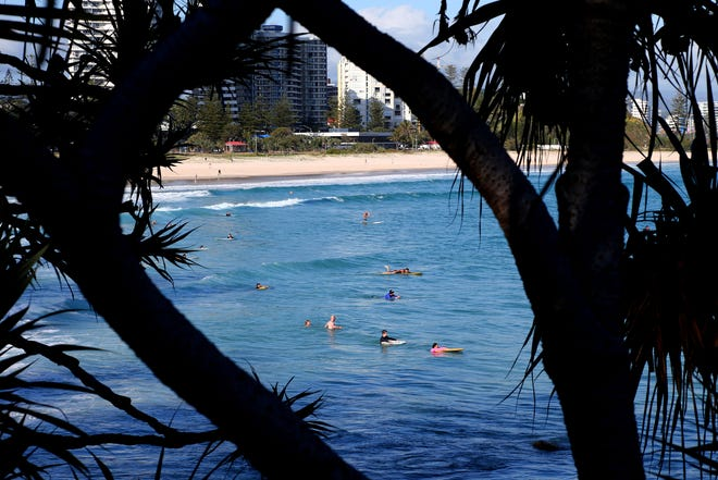 Surfers wade in the water waiting for waves off the Southern Gold Coast area of Greenmount Beach, Gold Coast,  in December 2017. A shark fatally mauled a man on Tuesday on Australia's Gold Coast city tourist strip, an official said.
