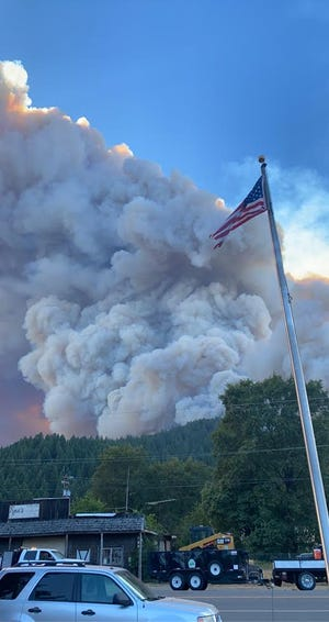 From the town of Happy Camp, the Slater Fire could be seen spewing smoke at around 4 p.m. on Sept. 8, 2020. This photo was taken from the Happy Camp Forest Service Station.
