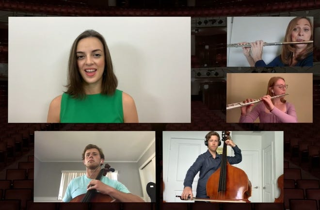 """Wicked"" star Talia Suskauer, from left, performs with Karen Fuller, Savannah Bell, Jeff Adkins and Dillon McCormick in a screenshot from the Kravis Center's socially distanced video of ""Over the Rainbow."""