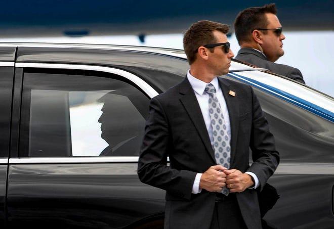 President Donald Trump arrives at Palm Beach International Airport in West Palm Beach, Monday September 8, 2020. [ALLEN EYESTONE/palmbeachpost.com]