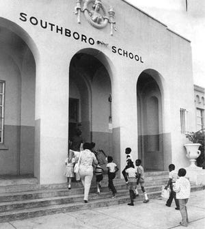 The first day of school at Southboro Elementary in August 1979. Much of the building, formerly at 524 Ogston St. in West Palm Beach across from Phipps Park, was gutted by a 1988 fire. The school was closed for good in 1989, and razed in 1993.