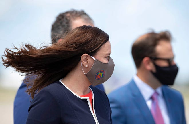 Ashley Moody, Florida Attorney General arrives to meet President Donald Trump at Palm Beach International Airport in West Palm Beach, Monday September 8, 2020. [ALLEN EYESTONE/palmbeachpost.com]