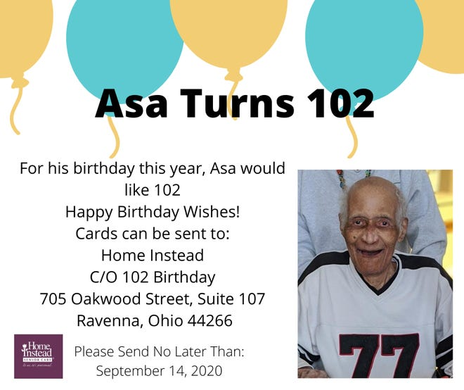 A graphic promoted by Home Instead asks locals to send birthday cards for Asa Newman. The Tuskegee Airman will celebrate his 102nd birthday this month.