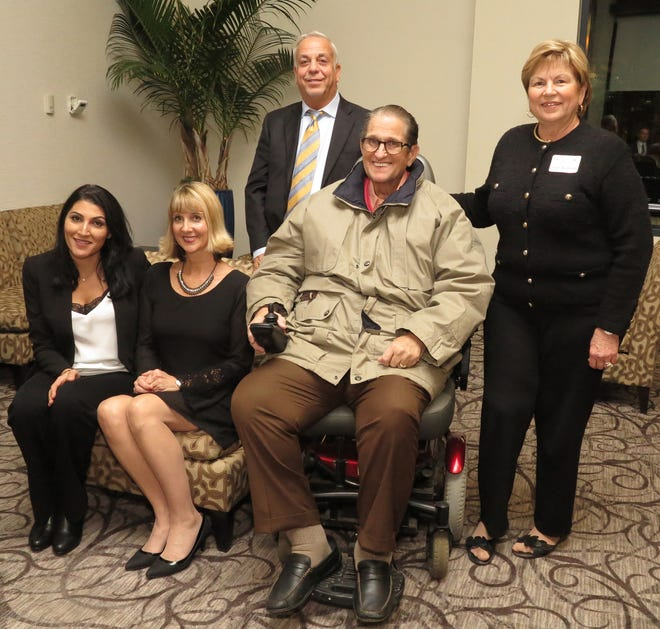 From left, Nicole Awad, Michelle Hartman, Mike Awad and Ron and Joan Burbick celebrated awards for Franklin Hotel Bar and Treno Ristorante at Tree City Awards. The Tree City Awards in 2017.  (File Photo)