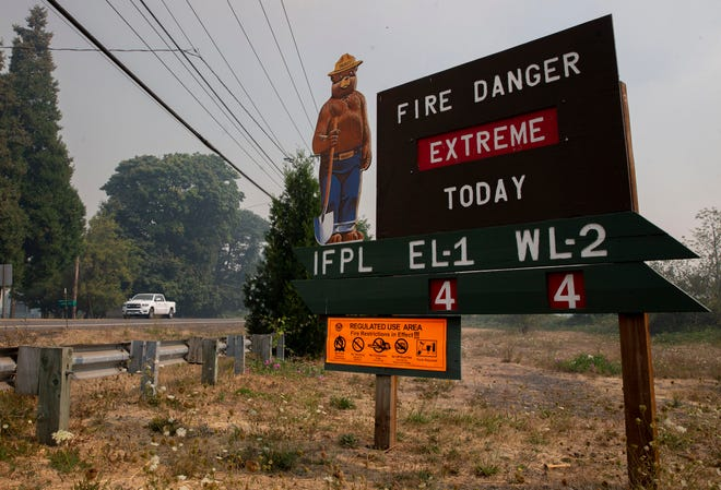 The fire danger level remains extreme in the area including outside Walterville on Sept. 8, 2020.