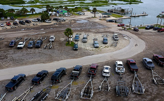 Boaters launch their vessels from a crowded Vilano Boat Ramp, north of St. Augustine, on Labor Day Monday.