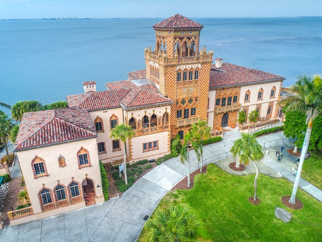 An aerial view of the front of Ca' d'Zan, the home of John and Mable Ringling, on the shore of Sarasota Bay.