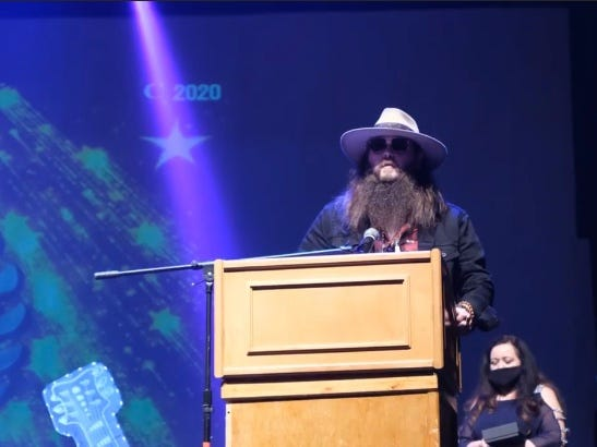 Jeremy Noble makes his acceptance speech after he was named Southern Rock Vocalist of the Year at The Josie Awards.
