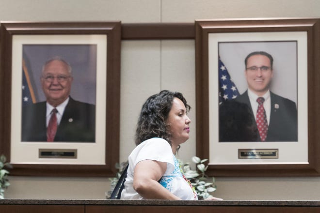 Victorville City Council Member Blanca Gomez walks in Council chambers in an undated photo. City staff sent a letter to California'sEmployment Development Department that suspects Gomez offiling a fraudulent unemployment claim against the city. The matter was initiallydiscussed during aTuesday, Sept. 1, 2020, meeting.