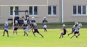 Viera High School Hawks football practice on Tuesday afternoon.