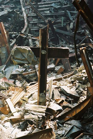Wayne Struble, Health First's Emergency Preparedness Expert, took this photo from inside the twisted rubble of the Twin Towers during rescue operations following 9/11. Struble moved to Brevard County in 2014.