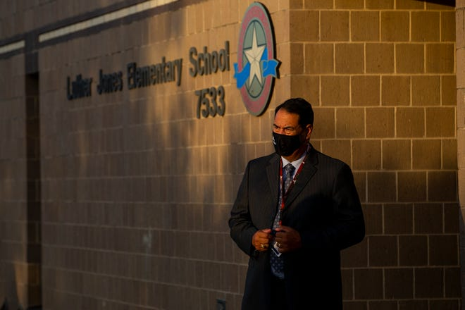 Corpus Christi Independent School District's Superintendent Roland Hernandez visits Jones Elementary School for the first day of in-person classes on Tuesday, Sept. 8, 2020.