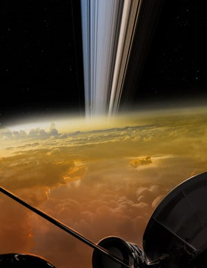 Artistic depiction of the Cassini spacecraft last view of Saturn from beneath the rings.