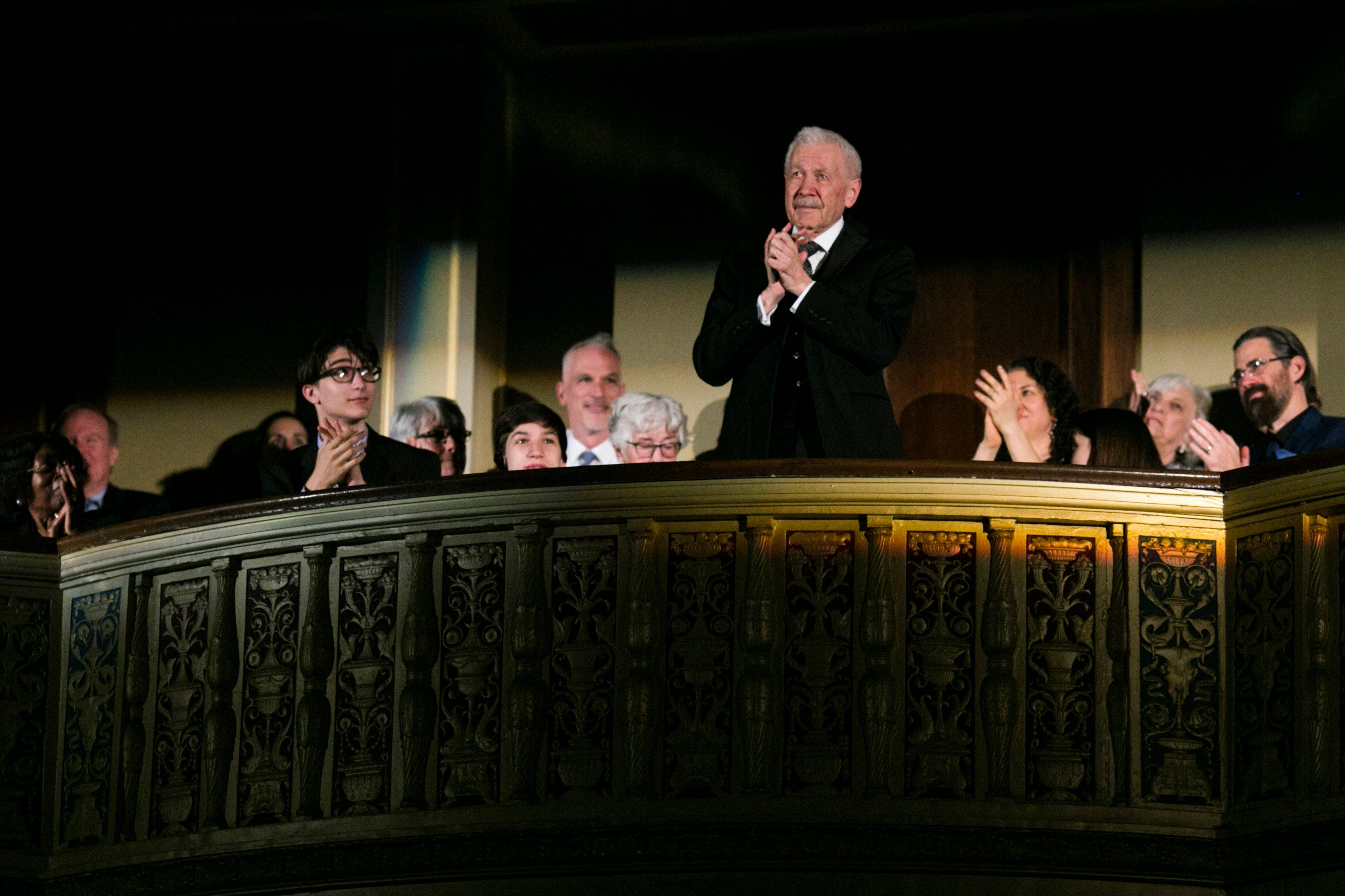 Founder and artistic director of the Michigan Opera Theatre, David DiChiera, 82, stands up as members of the crowd give him an ovation during a gala in honor of his retirement at the Detroit Opera House on Friday, May 19, 2017. The performances were interluded by interviews from DiChiera's colleagues on his legacy and featured an after party of guests at it's end.