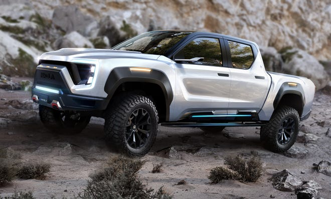 Rendering of the Nikola Badger electric pickup which GM will help engineer as part of a partnership with Nikola Corp. announced Sept. 8, 2020.
