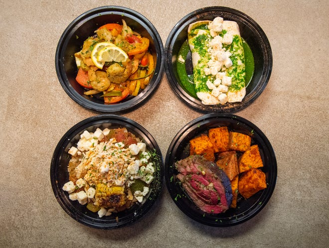 Top left, Summer Shrimp Salad, top right, Turkey Enchilada Bowl, bottom left, Street Corn Fiesta Bowl, bottom right, Herb Stuffed Steak from Farm Fresh Fast.