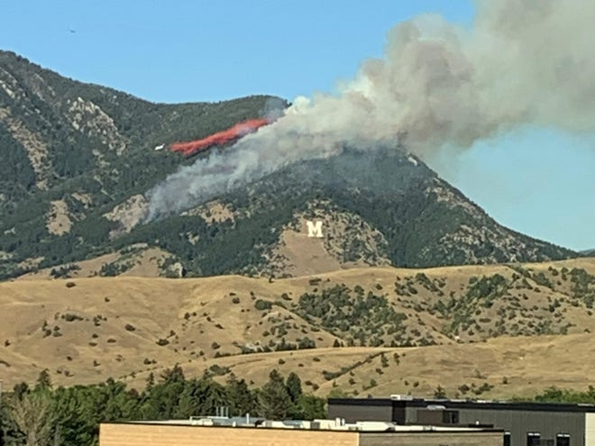 A VLAT (Very Large Air Tanker) out of Billings drops flame retardant on the Bridger Foothills Fire on September 4th.
