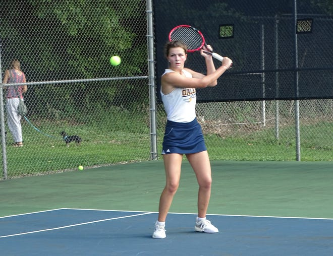 Lancaster junior Mallory Thomas, playing at No. 1 singles, held lead the Lady Gales to a 3-2 non-conference win over Granville.