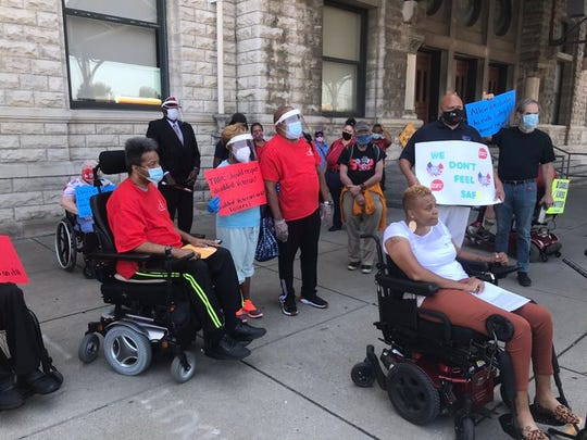 A group of people gathered at TARC headquarters to protest what they called a failure from the company to enforce COVID rules on buses on Tuesday, Sept. 8, 2020.