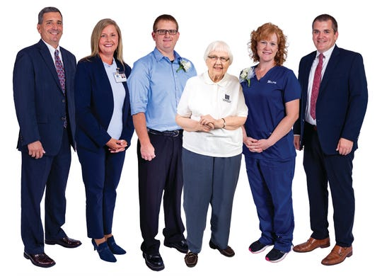 From left, LMHS President and CEO Rob Montagnese, Heather Burkhart, vice president of acute care services, award winners Dusty Meadows, Clarissa Ann Howard and Connie Beckley, and Greg Wallis, vice president of physician practices.
