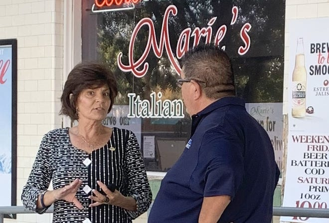 Republican candidate for U.S. Congressional seat (Dist. 2) visited with Deming Headlight Editor Bill Armendariz at Marie's Italian Grill.