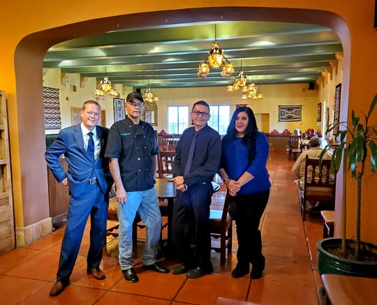 The entire staff of the Turquoise Room will continue at the restaurant after chef John Sharpe retires. From left: Johnny Jackson, Jesus Nunez, Dennis Burbank and Tanita Tso.