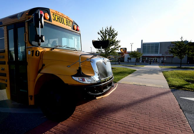 A bus arrives at Dallastown Intermediate School as classes resumed in the district Tuesday, Sept. 8, 2020. Bill Kalina photo